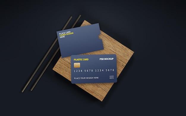 Mockup voor plastic kaart en kaartomslag: