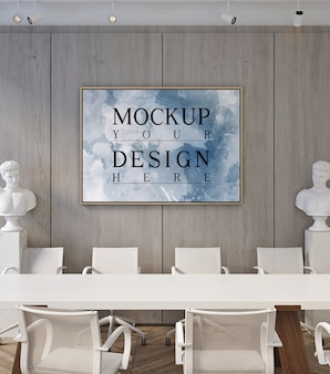 Mockup voor posterframe in moderne, eigentijdse vergaderruimte