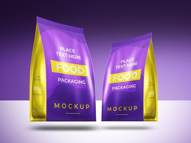 Mockup voor presentatie van voedselverpakkingen geïsoleerd