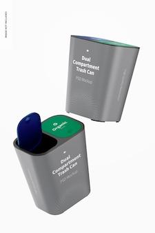Mockup voor prullenbakken met twee compartimenten, drijvend