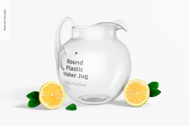 Mockup voor rond plastic waterkan, vooraanzicht