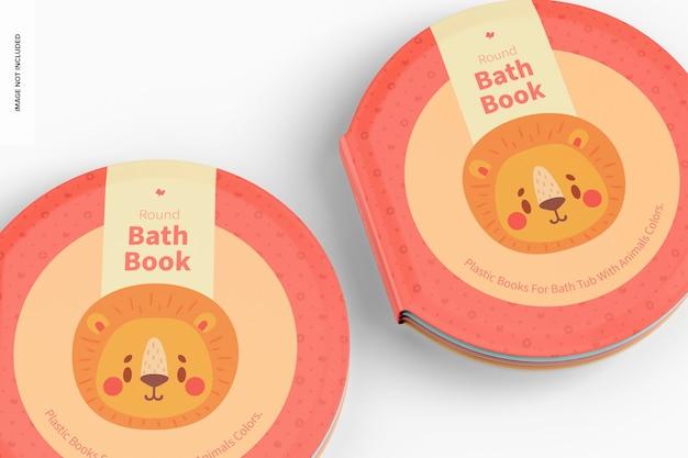 Mockup voor ronde badboeken, close-up