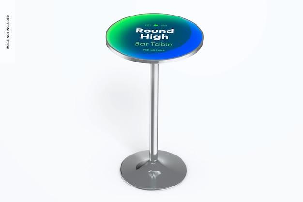 Mockup voor ronde hoge bartafel, vooraanzicht