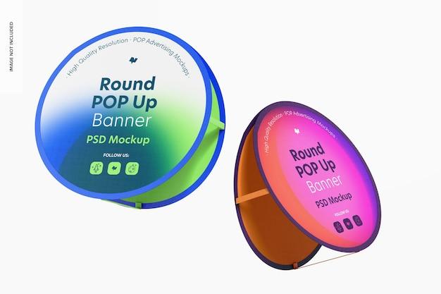 Mockup voor ronde pop-upbanner, drijvend