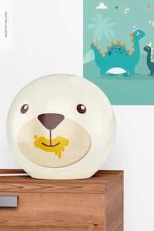 Mockup voor ronde tafellampen voor kinderen, vooraanzicht