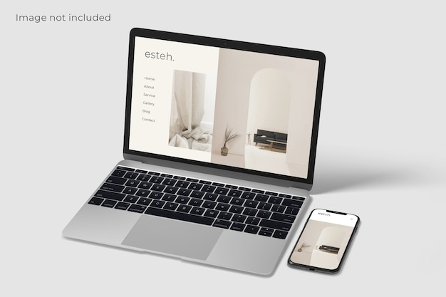 Mockup voor scherm van laptop en smartphone