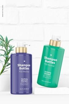 Mockup voor shampooflessen van 300 ml