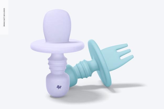 Mockup voor siliconen babyvork en lepel, linkeraanzicht