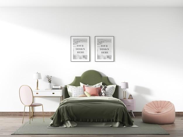 Mockup voor slaapkamerframe in loftstijl
