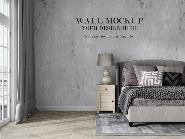 Mockup voor slaapkamermuren in landelijke stijl met minimalistisch meubilair