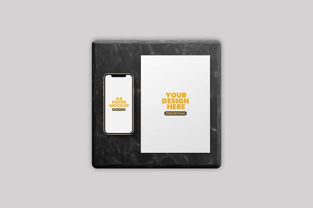 Mockup voor smartphone en a4-papier