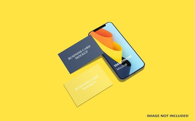 Mockup voor smartphone en visitekaartje