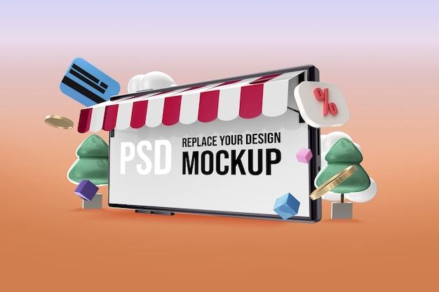 Mockup voor smartphonescherm om online te winkelen