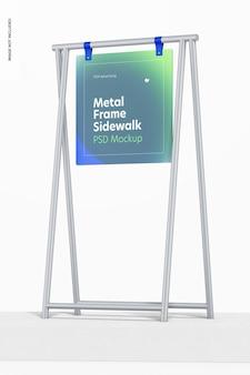Mockup voor stoepbord met metalen frame, lage hoekweergave