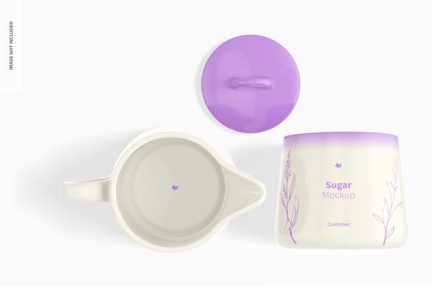 Mockup voor suiker- en roomset, bovenaanzicht