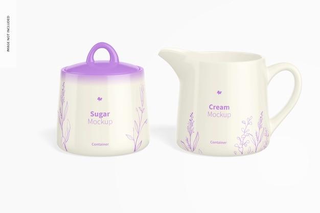 Mockup voor suiker- en roomset, voor- en linkeraanzicht