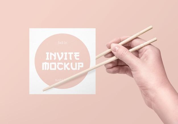 Mockup voor sushibar-uitnodiging