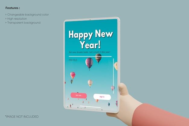 Mockup voor tabletklei op volledig scherm met 3d-handcartoon