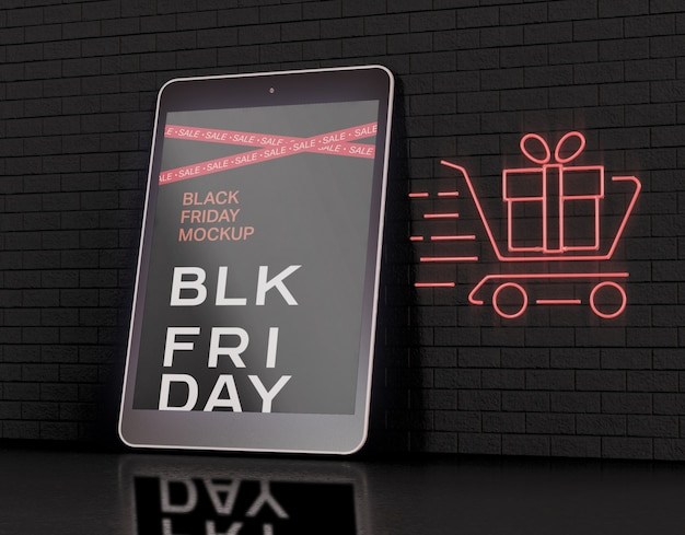 Mockup voor tabletscherm. black friday-concept