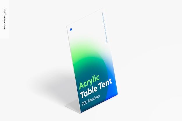 Mockup voor tafeltent van acryl, isometrisch rechts aanzicht