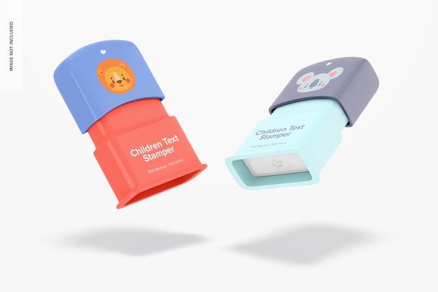Mockup voor tekststempels voor kinderen, drijvend