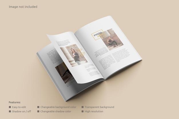Mockup voor tijdschrift met open weergave