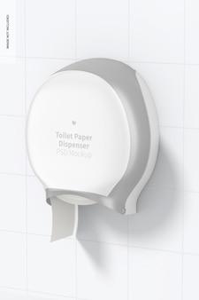 Mockup voor toiletpapierdispenser, perspectiefweergave