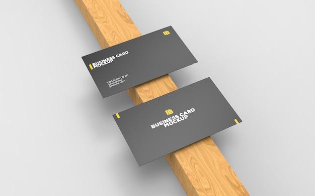 Mockup voor twee papieren visitekaartjes