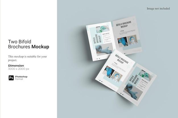 Mockup voor twee tweevoudige brochures
