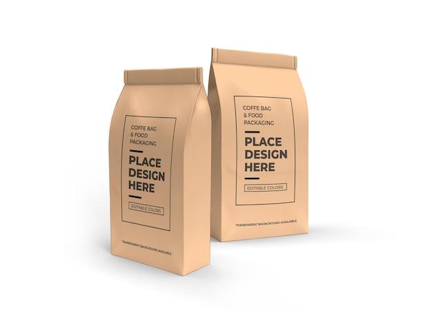 Mockup voor verpakking van koffie en etenszak Premium Psd
