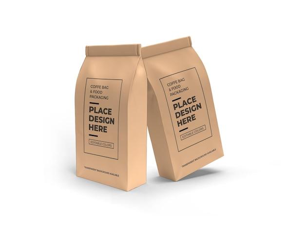 Mockup voor verpakking van koffie en etenszak