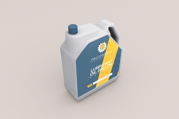 Mockup voor verpakking van motorolie plastic fles