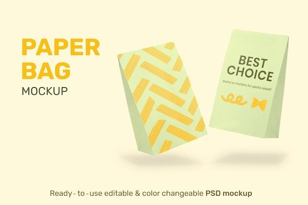 Mockup voor verpakking van papieren zakken psd voor voedingsbedrijf