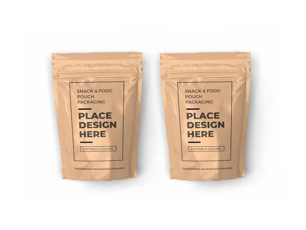 Mockup voor verpakking van snackzakjes