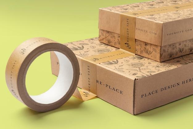 Mockup voor verpakkingstape in echte context