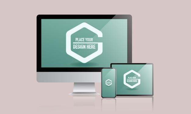 Mockup voor verschillende apparaten met desktop, smartphone en digitale tablet