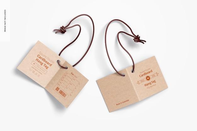 Mockup voor vierkante dubbele kartonnen hanglabels
