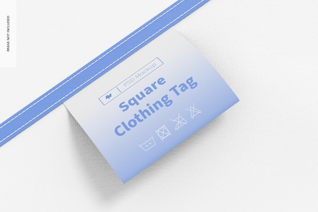 Mockup voor vierkante kledinglabels, close-up