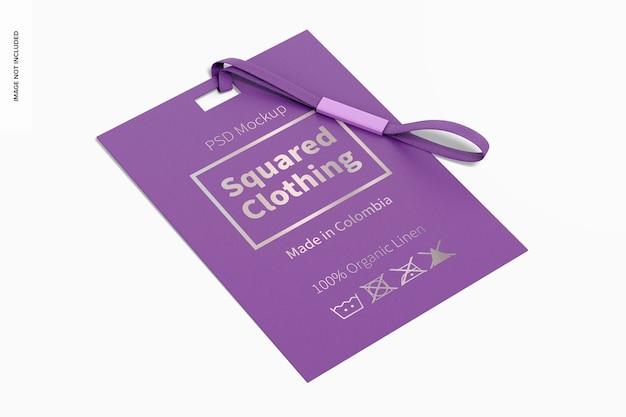 Mockup voor vierkante kledinglabels, perspectief