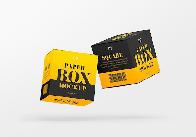 Mockup voor vierkante papieren dozen
