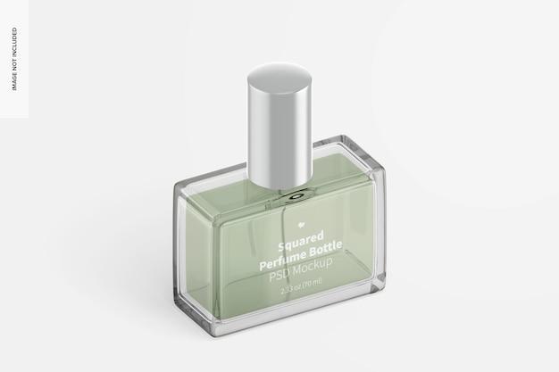 Mockup voor vierkante parfumflesjes, isometrische linkeraanzicht