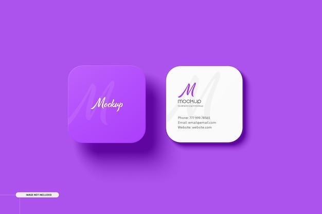 Mockup voor vierkante visitekaartjes met ronde hoek Premium Psd