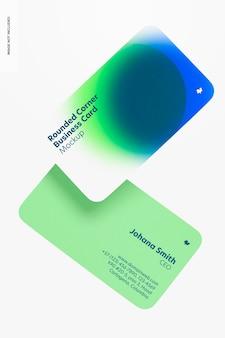 Mockup voor visitekaartjes met afgeronde hoeken, zwevend
