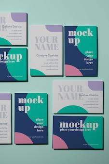 Mockup voor visitekaartjes met bovenaanzicht