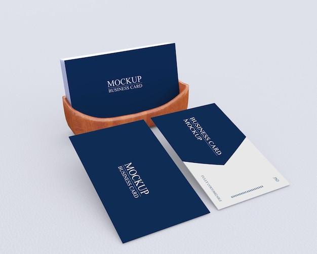 Mockup voor visitekaartjes met een eenvoudig ontwerp Premium Psd