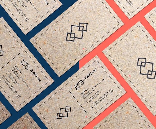 Mockup voor visitekaartjes met meerdere papierstijlen