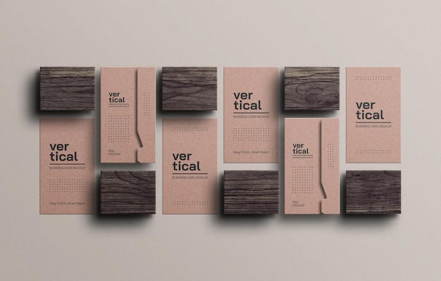 Mockup voor visitekaartjes van kraftpapier
