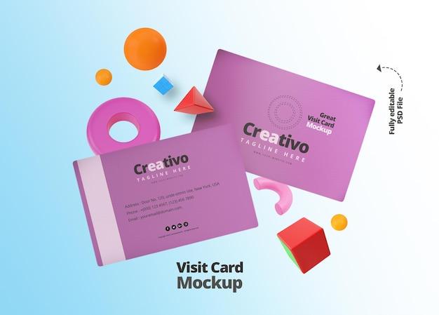 Mockup voor visitekaartjes voor de presentatie van kantoor- en bedrijfsbureaus