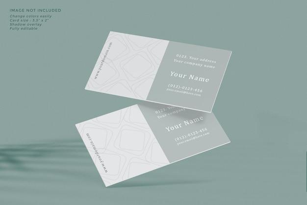 Mockup voor visitekaartjes zweven met schaduw-overlay