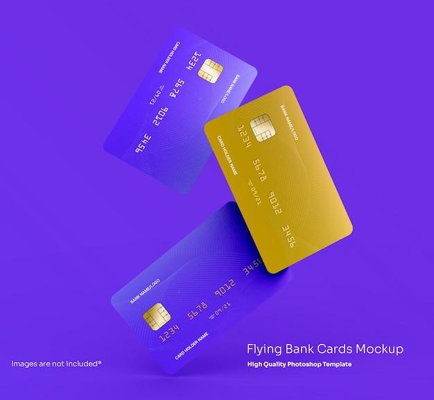 Mockup voor vliegende bankcreditcards